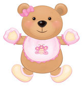 Cute baby bear girl — Vector de stock