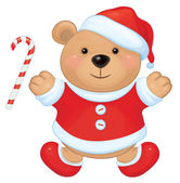 Brown bear in red Santa's costume — Vettoriale Stock