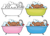 Bathing baby bear. — Vector de stock