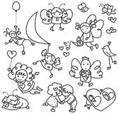 Set of cute angels cartoons. — Vettoriale Stock