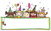 Birthday kids hiding by  frame. — Stock Vector