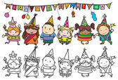 Group of children at birthday party. — Stock Vector