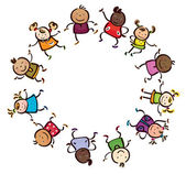 Children different races circle shape. — Stock Vector