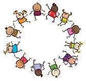 Children different races circle shape. — Stock Vector