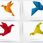 Origami japan paper flying bird — Stock Vector