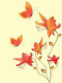Květinové pozadí s květinami — Stock vektor