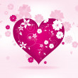 Abstract floral background for valentines day with heart — Imagen vectorial