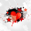 Grunge abstract background with heart — Stock Vector