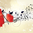 Abstract musical floral background - Stock Vector