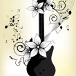 Abstract background with guitar and notes — Stock Vector