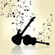 Stock Vector: Abstract grunge music background with guitar