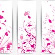 Set of cards with floral background and hearts — Stock vektor