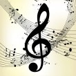 Abstract music background with notes - Image vectorielle