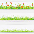 Set of backgrounds with vector green grass — Stock Vector