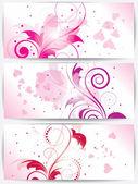 Zestaw kart z tle kwiatów i serca — Wektor stockowy