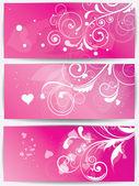 Conjunto de tarjetas con fondo floral y corazones — Vector de stock