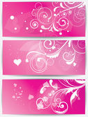Set of cards with floral background and hearts — Stock Vector