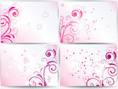 Set of cards with floral background and hearts — Stok Vektör