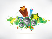 Abstract colored background with vinyl and musical note — Stockvector