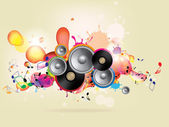 Abstract colored background with vinyl and musical note — Vettoriale Stock