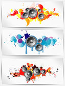 Set of musical grunge backgrounds with subwoofer — Stock Vector