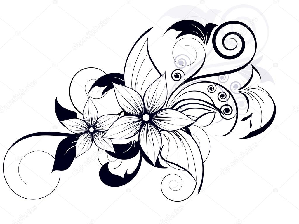 Рисунки карандашом цветок с завитушками