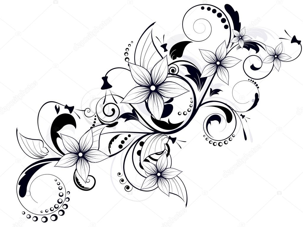 Floral Design Element With Swirls For Spring Stock