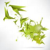 Origami paper bird on abstract background — Vetor de Stock
