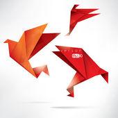 Origami-papier-vogel auf abstrakten hintergrund — Stockvektor