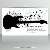 Card with music notes and guitar — Stock Vector