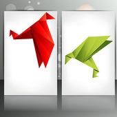 Pájaro de papel origami — Vector de stock