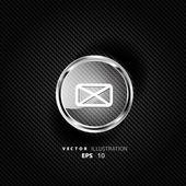 Web letter icon on carbon background — Vector de stock