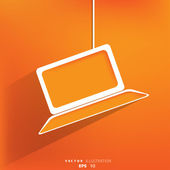 Laptop web pictogram, platte ontwerp — Stockvector