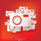 Fotoğraf kamera web simgesi olan arka plan — Stok Vektör