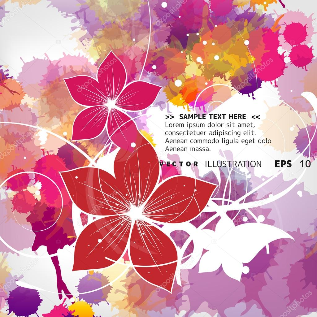 Abstract vintage floral background with color splash