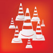 Stock Vector: Warning road cones icon