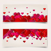 Valentines day. Abstract cards with paper hearts — Stock Vector
