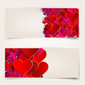 Valentines day. Abstract cards with paper hearts — Stock vektor