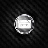Compact Cassette icon, flat design, hipster style — Wektor stockowy