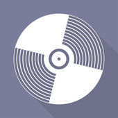 Music vinyl disk icon,flat design — Stock Vector