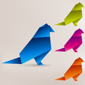 Origami paper bird on abstract background — 图库矢量图片
