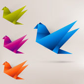 Origami paper bird on abstract background — Vecteur