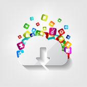 Chmura pobierz za darmo icon. przycisk aplikacji. — Wektor stockowy