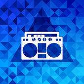 Retro tape recorder.Triangle background. — Wektor stockowy