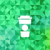 外卖咖啡杯子 icon.triangle 背景. — 图库矢量图片