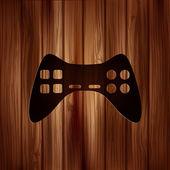 Joystick web icon. Wooden texture. — Wektor stockowy