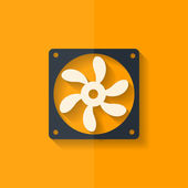 Computer cooling fan icon. Flat design. — Stock Vector