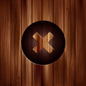 Delete web icon. Close symbol. Wooden texture. — Vector de stock