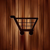 Shopping basket icon. Wooden texture. — Vetorial Stock