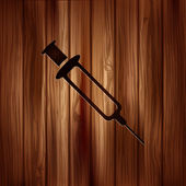 Syringe web icon. Wooden texture. — Cтоковый вектор